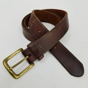 Eddie Bauer Dark Brown Leather Belt Distressed 38